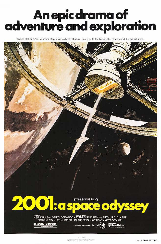 "poster for ""2001: a Space Odyssey"" by Stanley Kubrick(1968)"