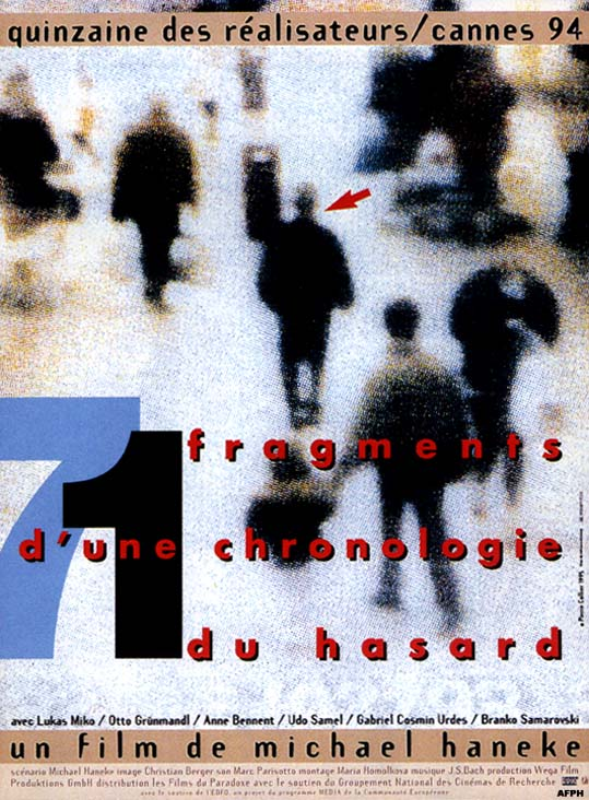 "poster for ""71 Fragmente einer Chronologie des Zufalls"" by Michael Haneke(1994)"
