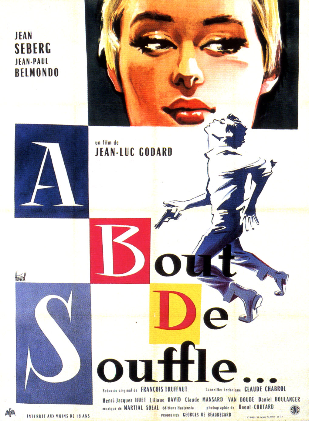 "poster for ""A Bout de Souffle (Breathless)"" by Jean-Luc Godard(1960)"