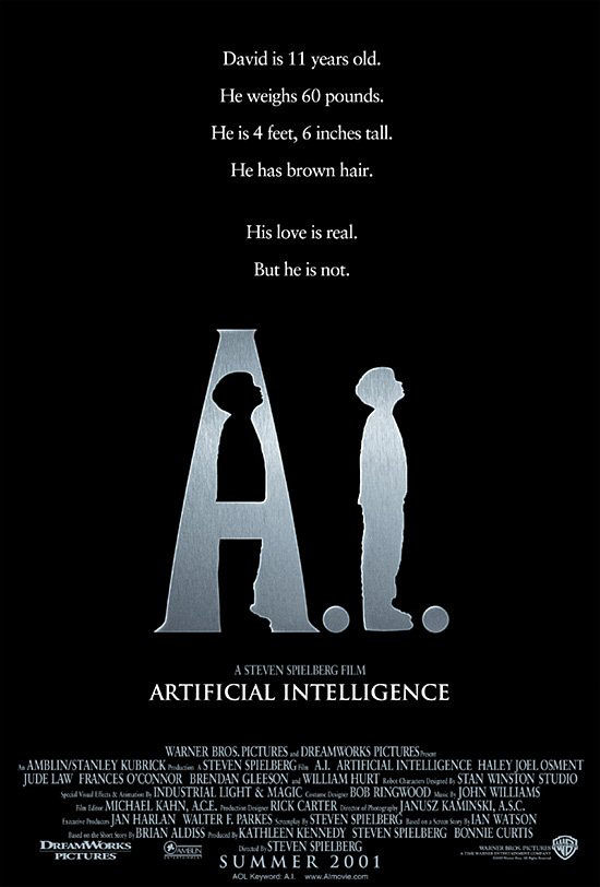 "poster for ""A. I. Artificial Intelligence"" by Steven Spielberg(2001)"