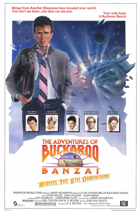 "poster for ""Adventures of Buckaroo Banzai Across the 8th Dimension, The"" by W.D. Richter(1984)"