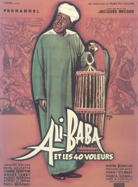 "poster for ""Ali Baba et les 40 voleurs"" by Jacques Becker (1954)"
