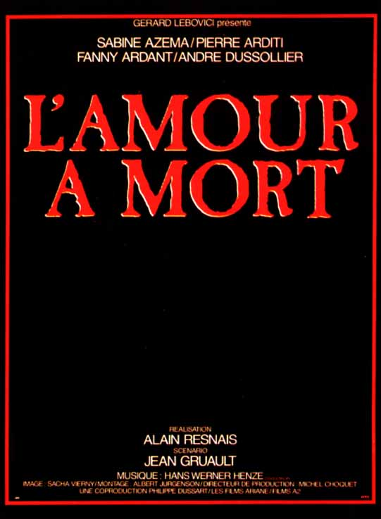 "poster for ""Amour � mort, L' (Love Unto Death)"" by Alain Resnais(1984)"