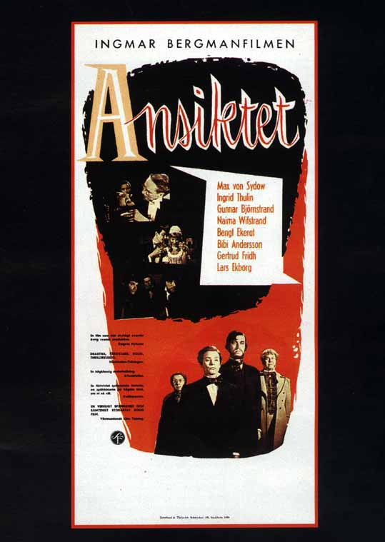 "poster for ""Ansiktet (The Face, The Magician)"" by Ingmar Bergman (1958)"