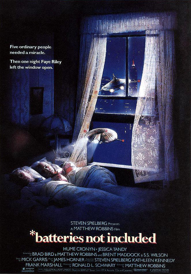 "poster for ""Batteries Not Included"" by Matthew Robbins(1987)"