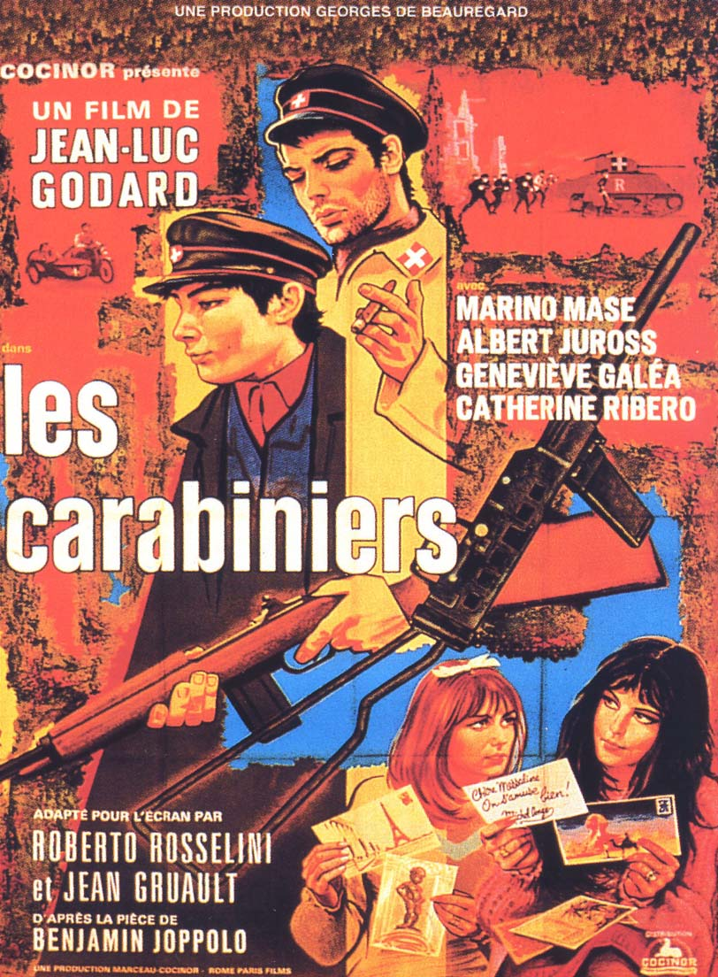"poster for ""Carabiniers, Les (The Riflemen, The Soldiers (US))"" by Jean-Luc Godard (1963)"