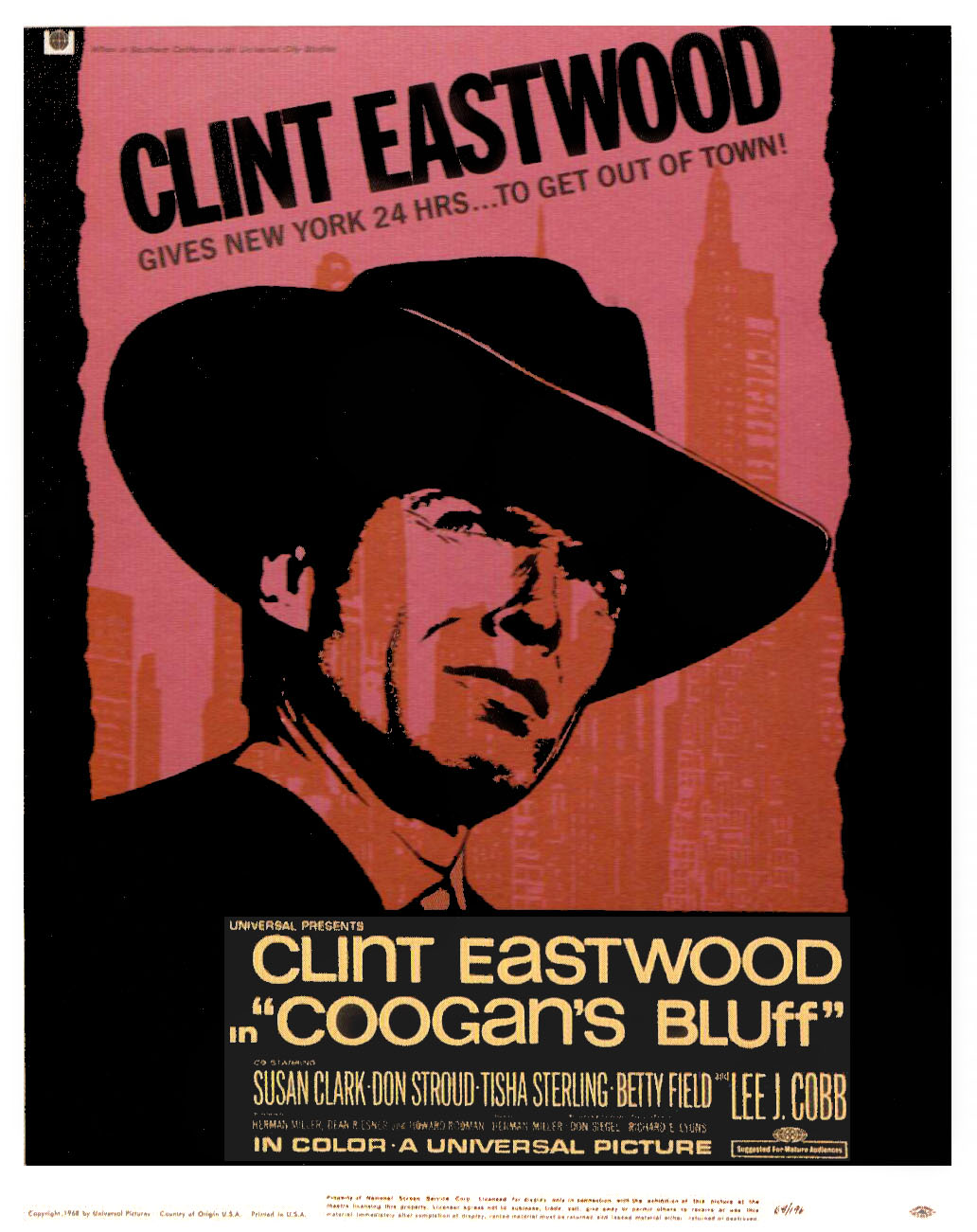 "poster for ""Coogan's Bluff"" by Don Siegel(1968)"