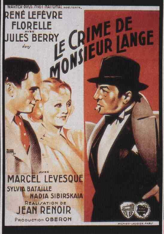 "poster for ""Crime de Monsieur Lange, Le"" by Jean Renoir(1936)"
