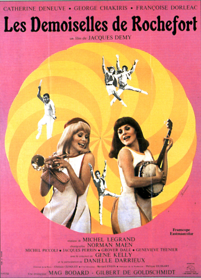 "poster for ""Demoiselles de Rochefort, Les (The Young Girls of Rochefort)"" by Jacques Demy 