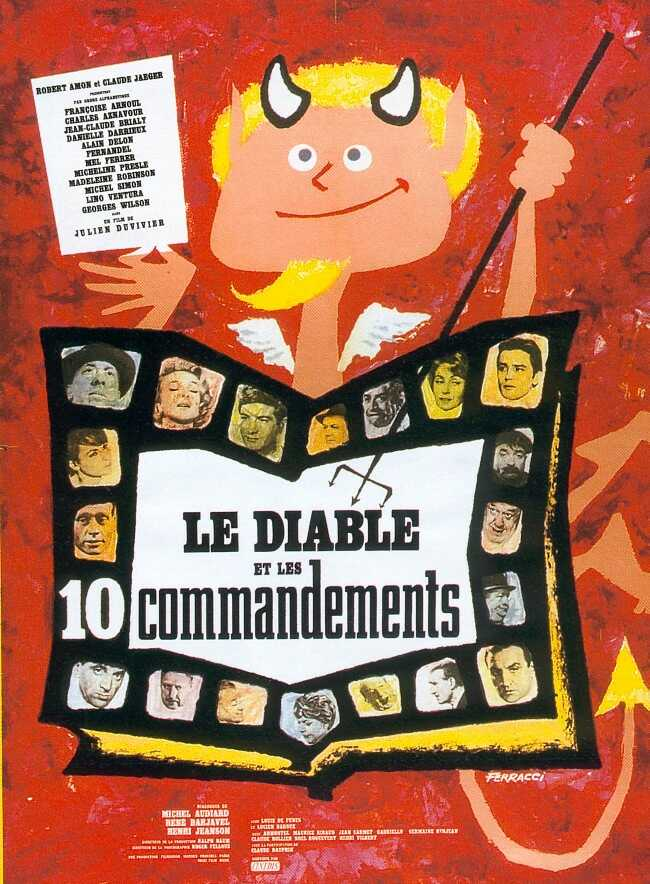 "poster for ""Le Diable et les Dix Commandements"" by Julien Duvivier(1962)"