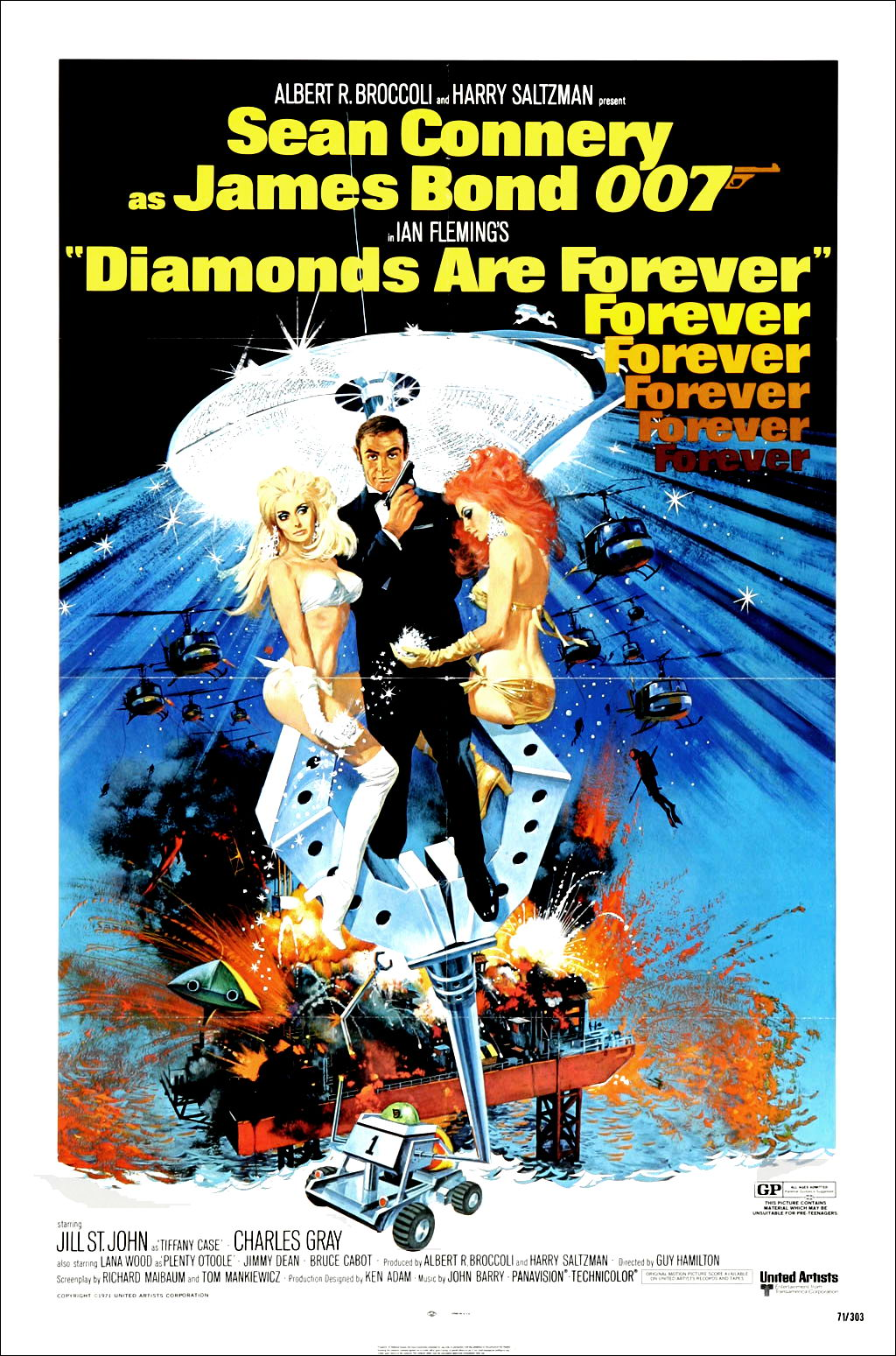 "poster for ""Diamonds Are Forever"" by Guy Hamilton(1971)"