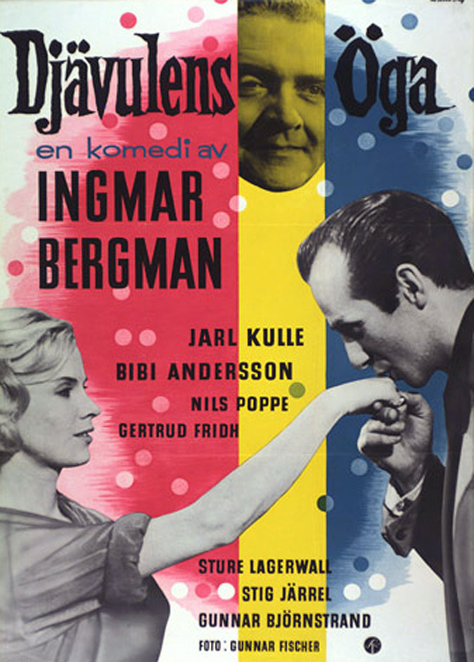 "poster for ""Dj�vulens �ga (The Devil's eye)"" by Ingmar Bergman(1960)"