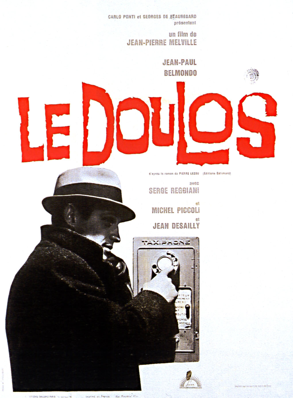 "poster for ""Doulos, Le (the Finger Man)"" by Jean-Pierre Melville (1961)"