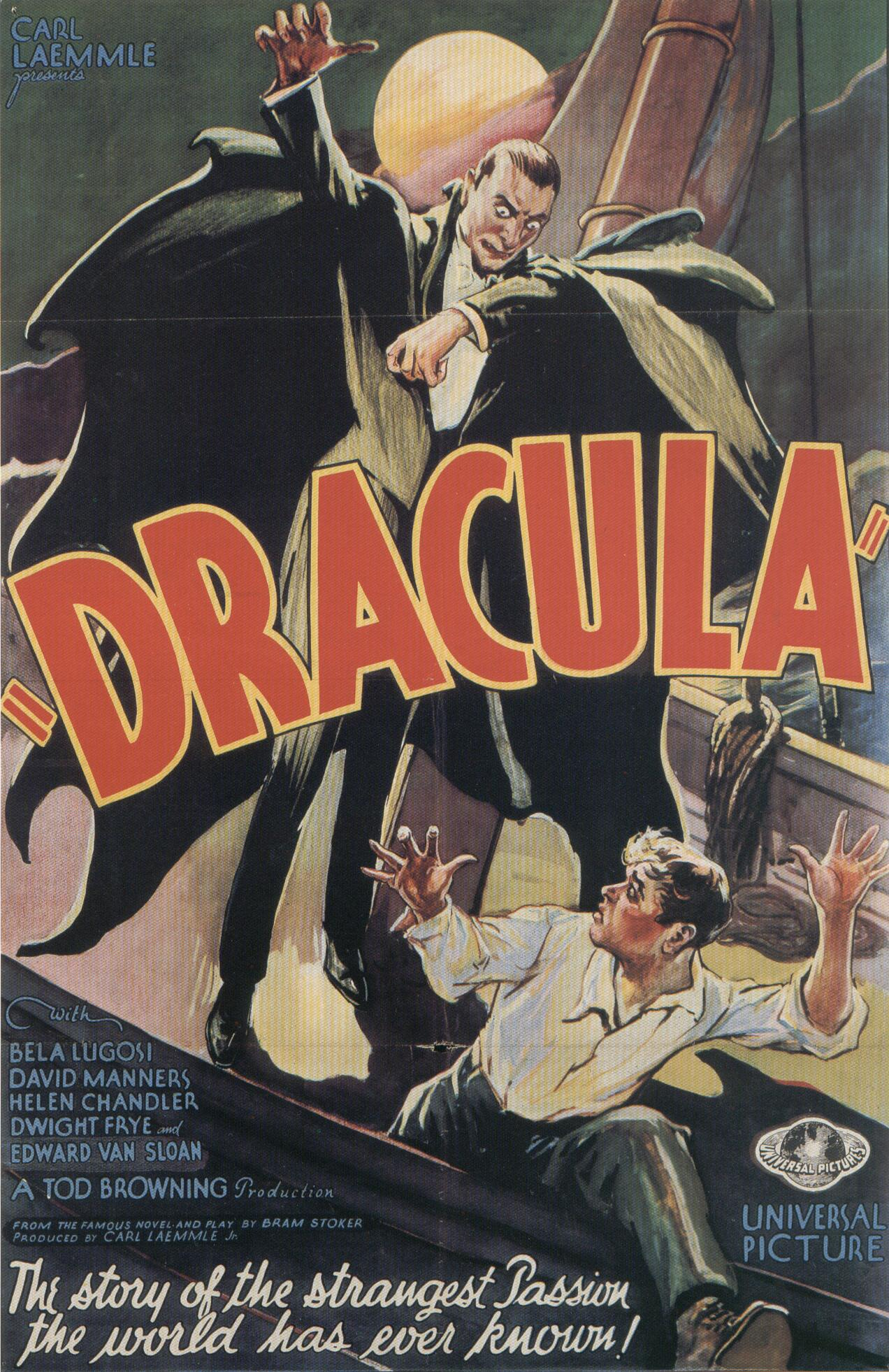 "poster for ""Dracula"" by Tod Browning(1931)"