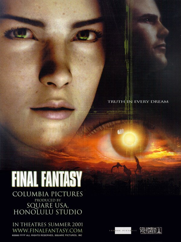 "poster for ""Final Fantasy, the Spirit Within"" by Hironobu Sakaguchi 