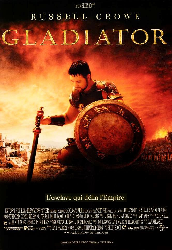 "poster for ""Gladiator"" by Ridley Scott(2000)"