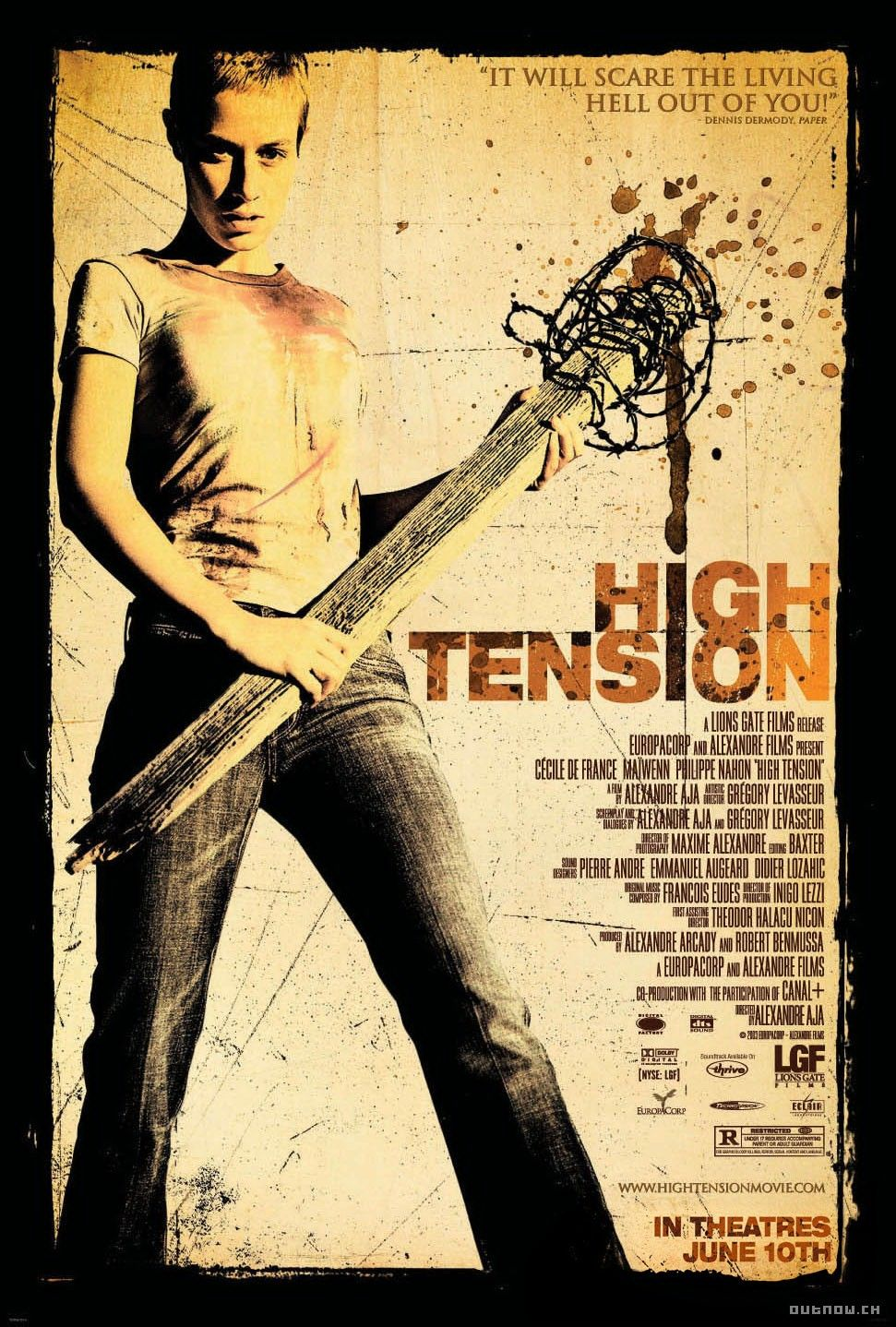 "poster for ""Haute Tension"" by Alexandre Aja(2003)"