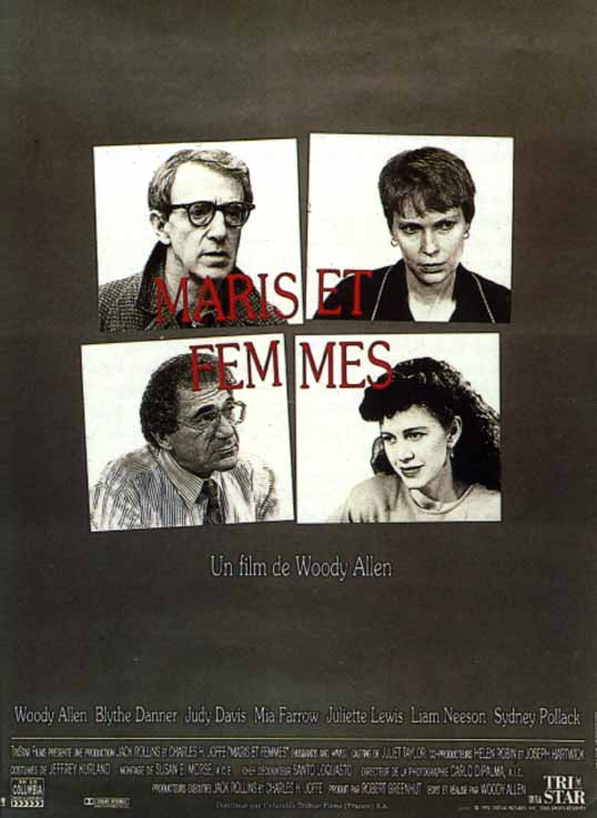"poster for ""Husbands And Wives"" by Woody Allen(1992)"