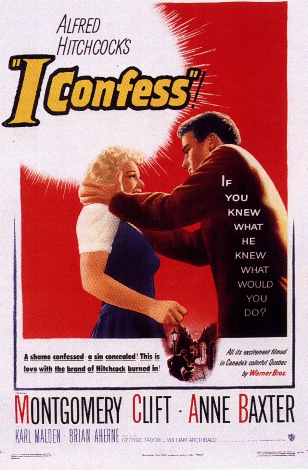 "poster for ""I Confess"" by Alfred Hitchcock(1953)"