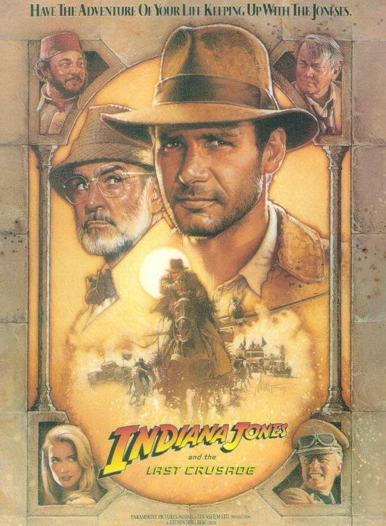 "poster for ""Indiana Jones and the Last Crusade"" by Steven Spielberg (1989)"