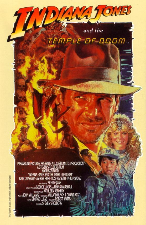 "poster for ""Indiana Jones and The Temple Of Doom"" by Steven Spielberg(1984)"