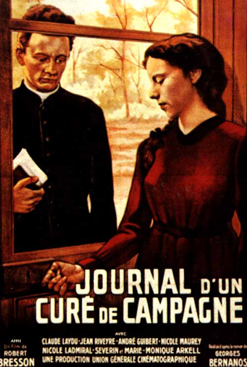 "poster for ""Journal d'un cur� de campagne (Diary of a country priest"" by Robert Bresson(1951)"