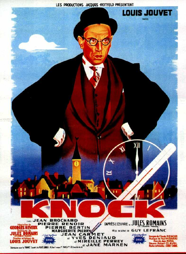 "poster for ""Knock"" by Guy Lefranc (1951)"