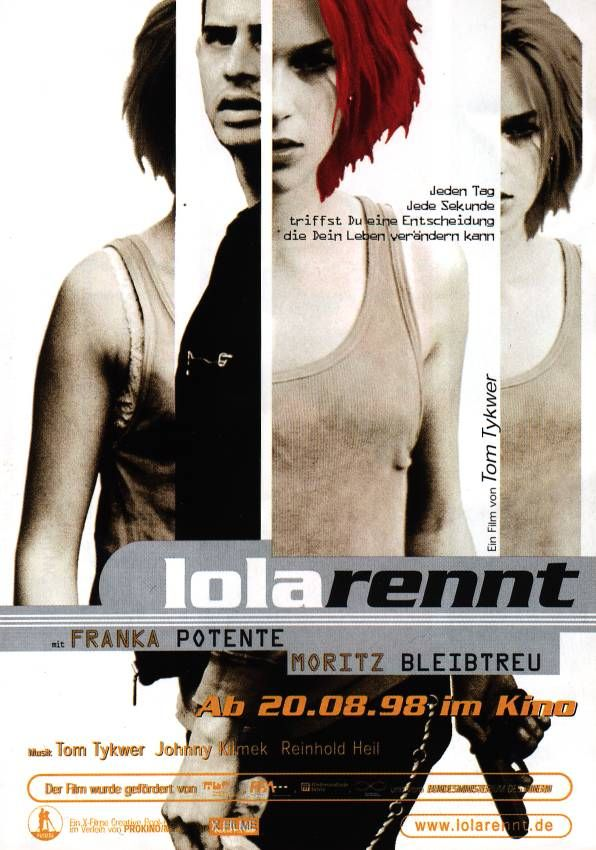 "poster for ""Lola Rennt (Run Lola, Run)"" by Tom Tykwer (1998)"
