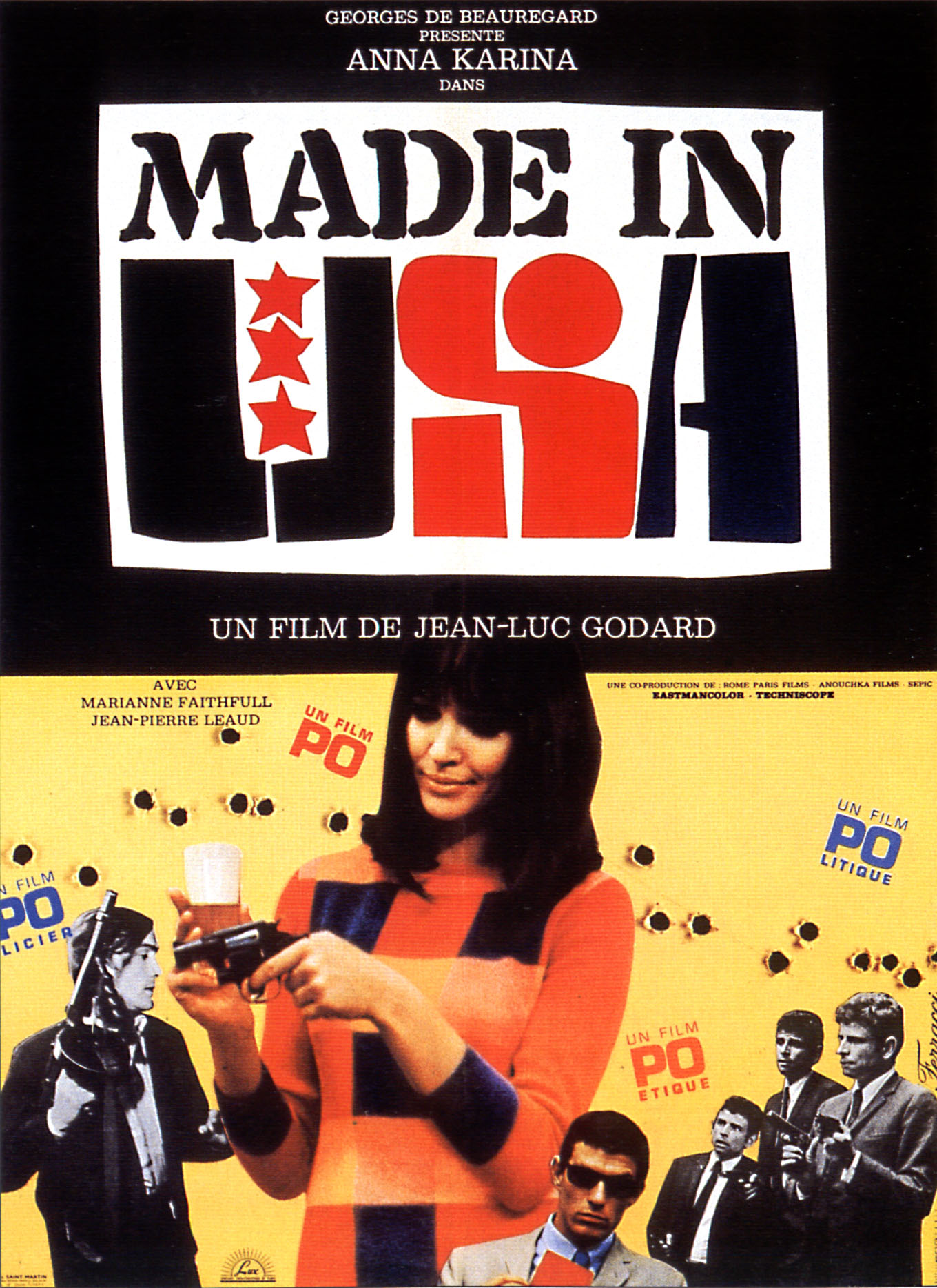 "poster for ""Made in USA"" by Jean-Luc Godard (1966)"