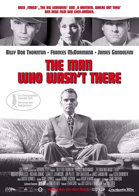 "poster for ""Man Who Wasn't There, The"" by Joel Coen 