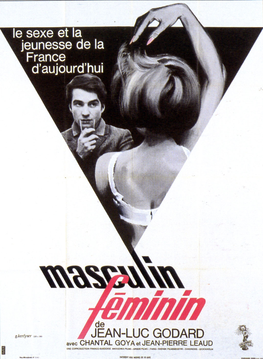 "poster for ""Masculin, f�minin"" by Jean-Luc Godard (1966)"