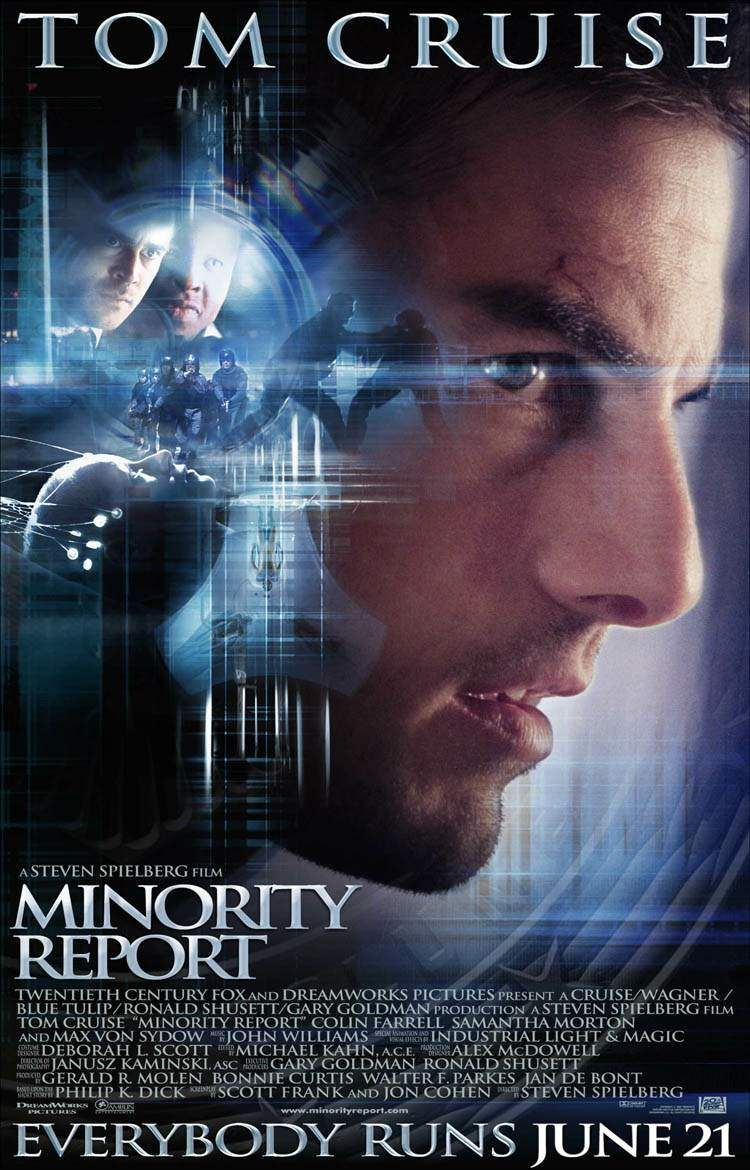 "poster for ""Minority Report"" by Steven Spielberg(2002)"