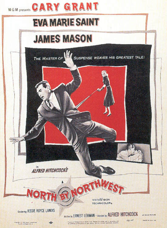 "poster for ""North By Northwest"" by Alfred Hitchcock(1959)"