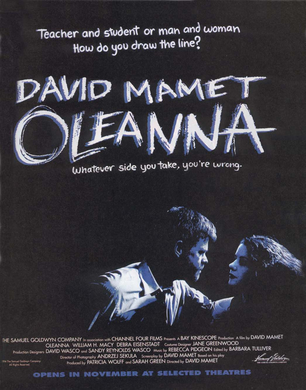 "poster for ""Oleanna"" by David Mamet(1994)"