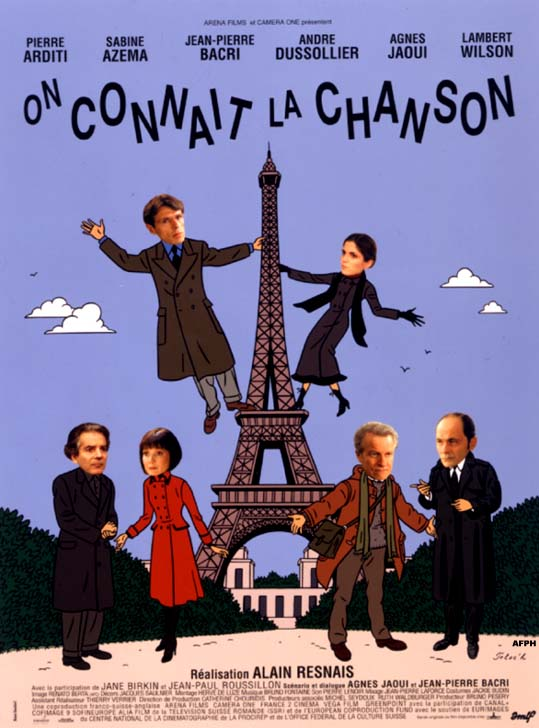 "poster for ""On connait la chanson"" by Alain Resnais(1997)"