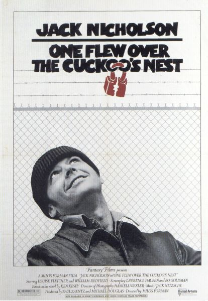 "poster for ""One Flew Over The Cuckoo's Nest"" by Milos Forman (1975)"