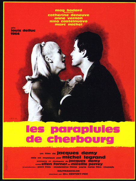 "poster for ""Parapluies de Cherbourg, Les (The Umbrellas of Cherbourg)"" by Jacques Demy(1964)"