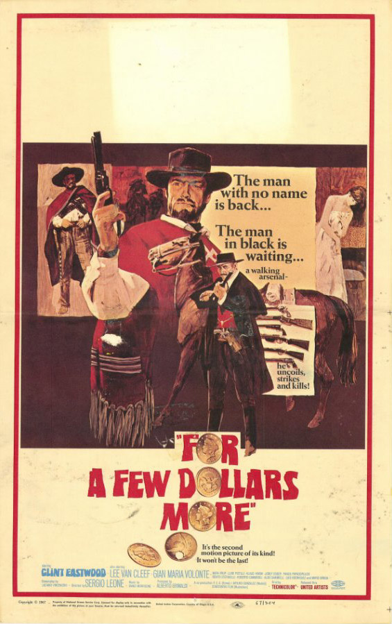 "poster for ""Per qualche dollaro in pi� (For a Few Dollars More)"" by Sergio Leone(1965)"