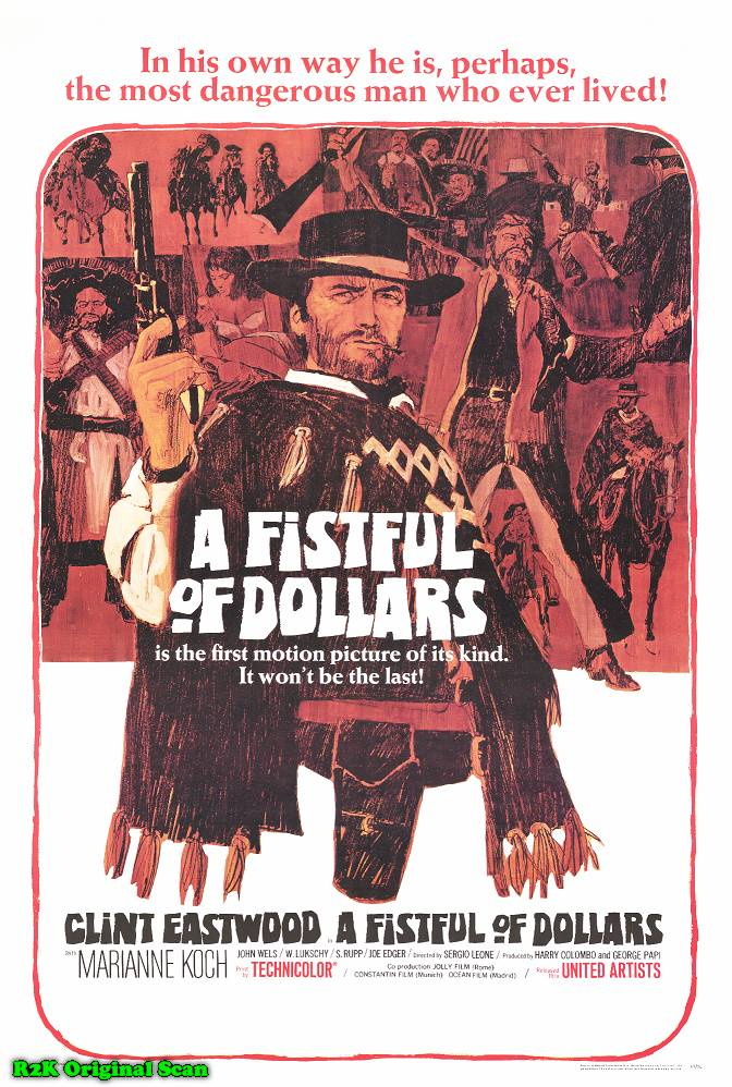 "poster for ""Per un Pugno di dollari (A fistfull of Dollars)"" by Sergio Leone (1964)"