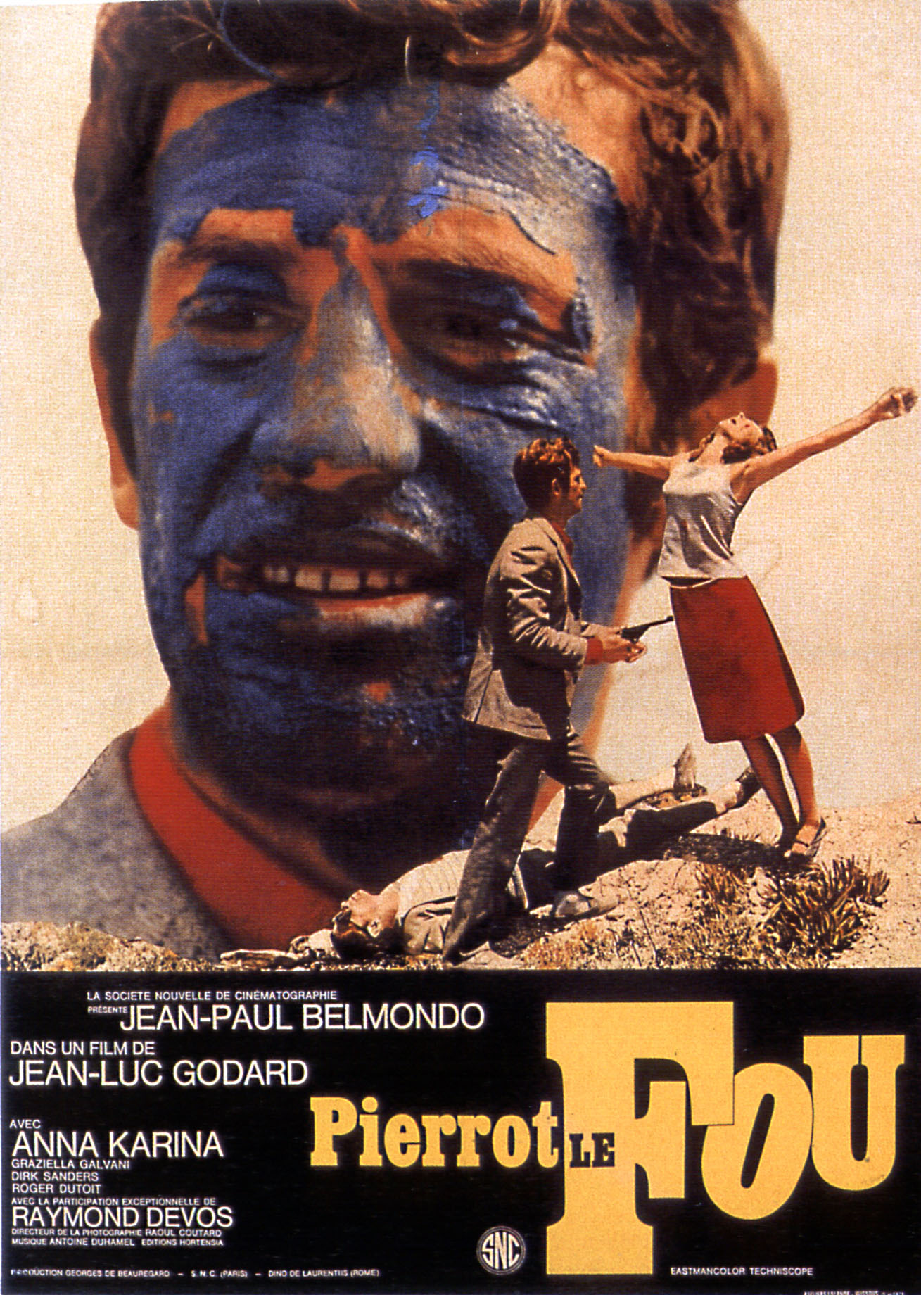 "poster for ""Pierrot le fou (Crazy Pete (US), Pierrot Goes Wild (US)"" by Jean-Luc Godard(1965)"