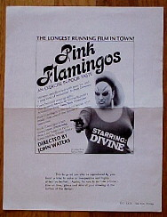 "poster for ""Pink Flamingos&quot"