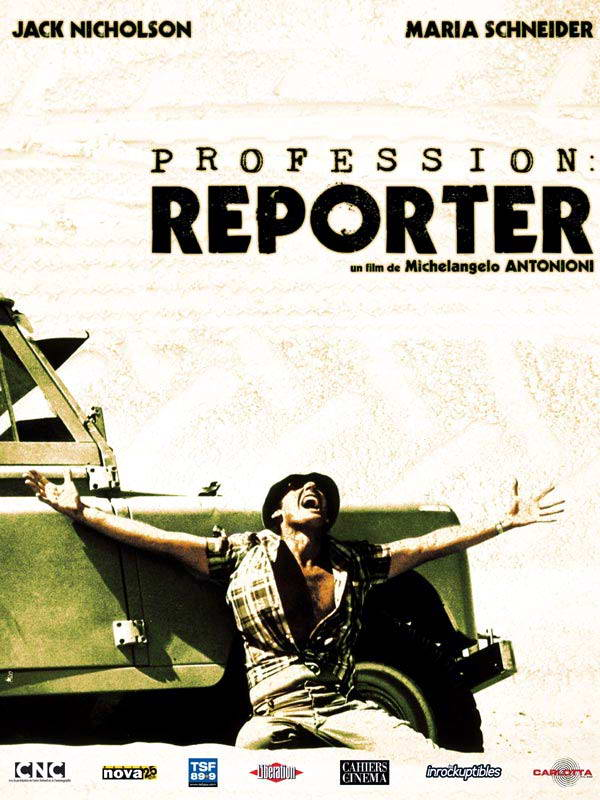 "poster for ""Professione Reporter"" by Michelangelo Antonioni (1975)"
