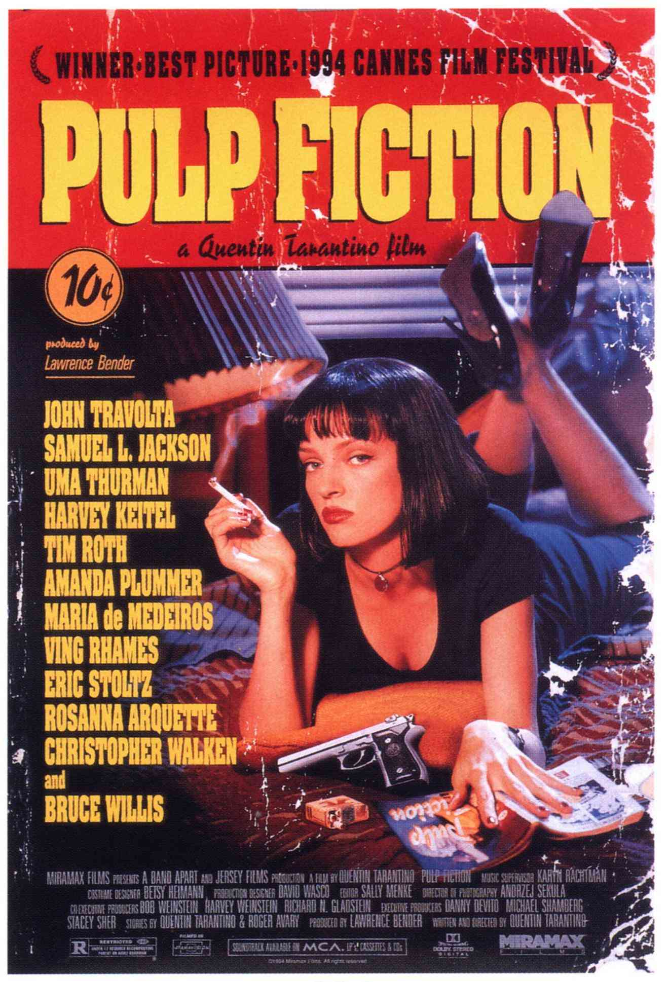 "poster for ""Pulp Fiction"" by Quentin Tarantino (1994)"