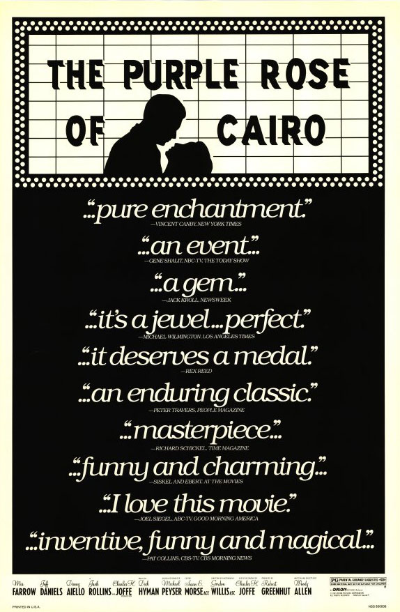 "poster for ""Purple Rose Of Cairo, The"" by Woody Allen(1985)"