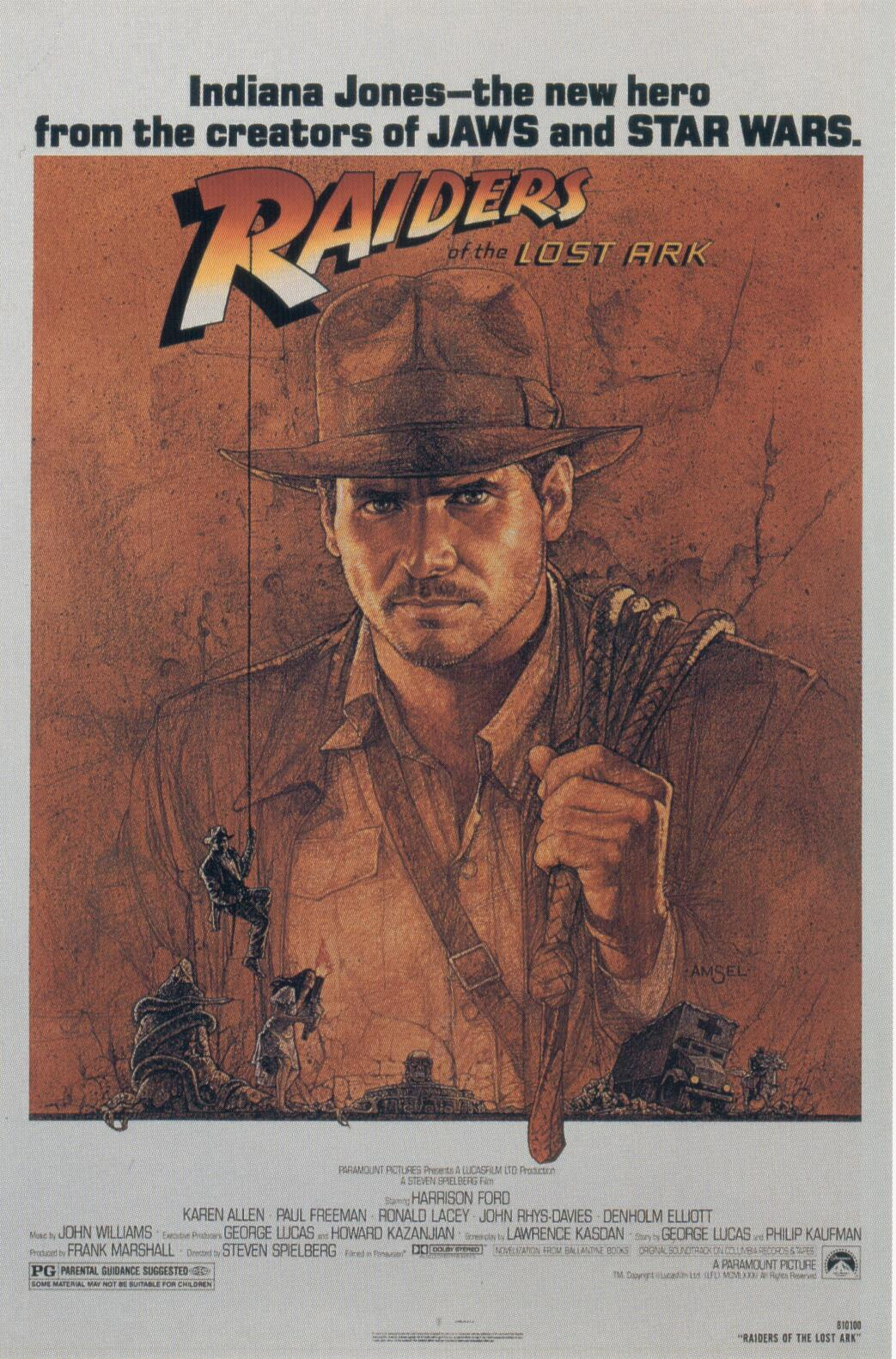 "poster for ""Raiders Of The Lost Ark"" by Steven Spielberg(1981)"