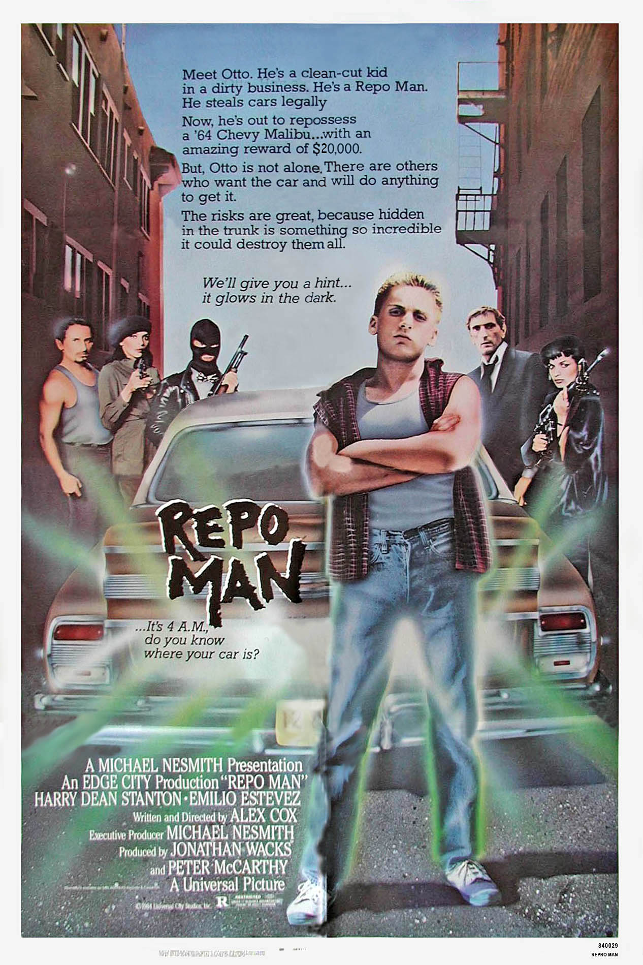 "poster for ""Repo Man"" by Alex Cox(1984)"
