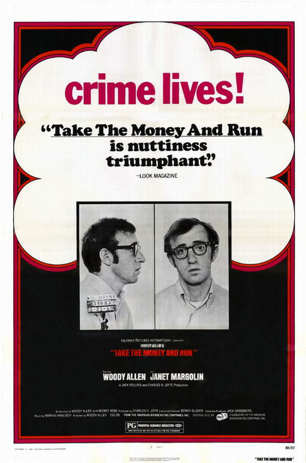 "poster for ""Take the money and run"" by Woody Allen(1969)"