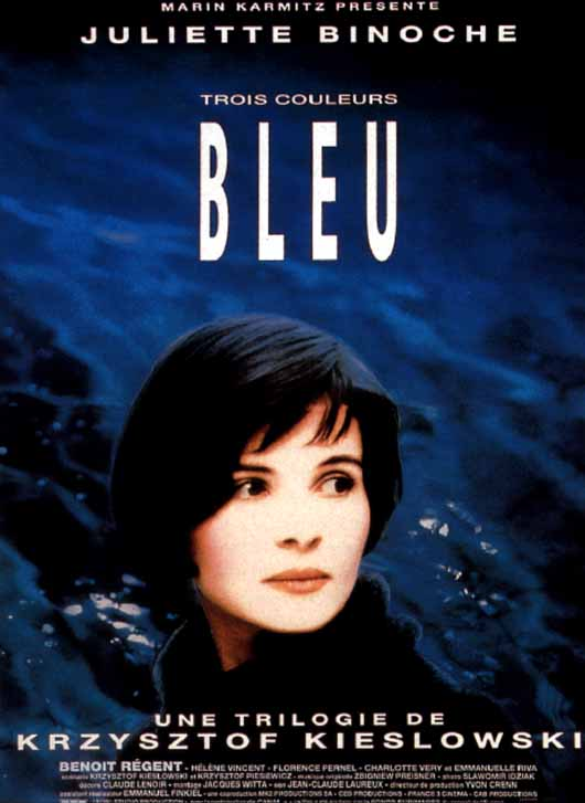 "poster for ""Trois Couleurs : Bleu (Three Colors: Blue)"" by Krzysztof Kieslowski(1993)"