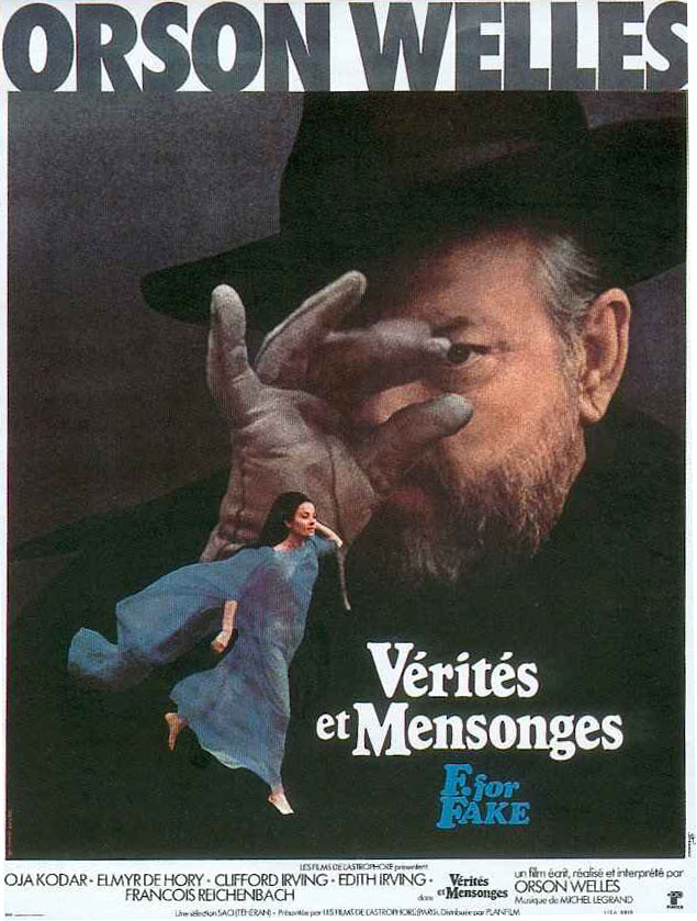 "poster for ""V�rit�s et Mensonges (F For Fake)"" by Orson Welles(1976)"