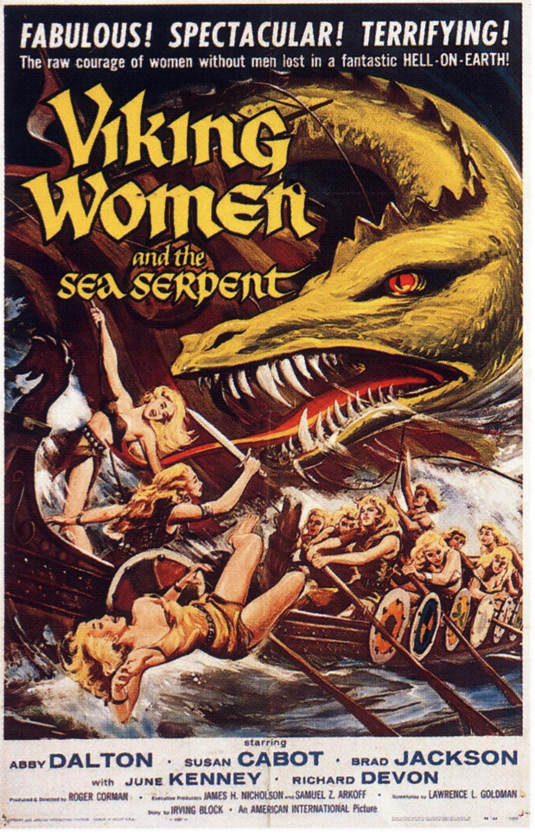 "poster for ""The Saga of the Viking Women and Their Voyage to the Waters of the Great Sea Serpent"" by Roger Corman (1957)"